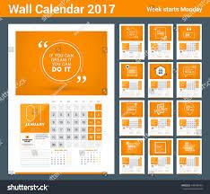 wall calendar planner print template 2017 stock vector 446946484
