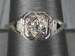 antique 14k gold diamond ring diamond sapphire ring 14k white gold
