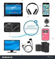 set gadgets consumer electronic devices vector stock vector