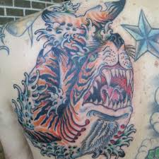 traditional tiger shark on left back shoulder