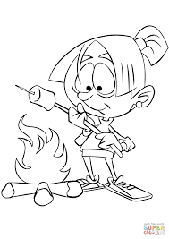 roasting marshmallow over camp fire coloring page free