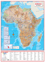 World Map Of Africa by Africa Physical Wall Map A Comprehensive Physical Map Of Africa