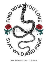 snake roses illustration free slogan stock vector 720416611