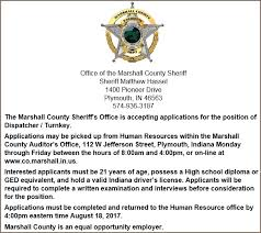 sheriff of marshall county indiana dedicated to service and