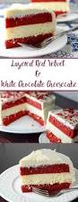layered red velvet and white chocolate cheesecake