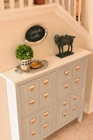 add thin wood tiles to the hemnes shoe cabinet to make it look