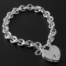 silver charm link bracelet images Heavy solid silver charm bracelet with large padlock closure jpg