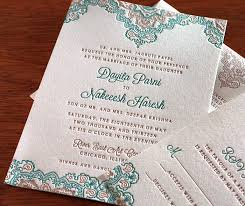 teal wedding invitations fall indian wedding colors copper and teal letterpress wedding