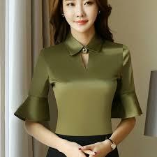 plus size silk blouse 2017 plus size half sleeve satin shirts flare sleeve