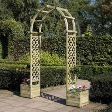 wooden trellis arch with planters amazon co uk garden u0026 outdoors
