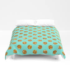 Yellow Polka Dot Duvet Cover Chic Gold Glitter Polka Dots Pattern On Turquoise Duvet Cover By