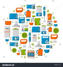 round background cartoon kitchen appliances kitchen stock vector