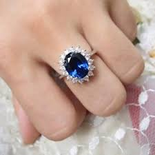ring diana princess diana ring solid silver sapphire and created diamond
