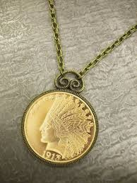 necklace pendant coin images 10 indian head eagle gold piece replica coin in antique goldtone jpg