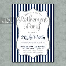 retirement invitations navy silver stripe retirement invitations nifty printables