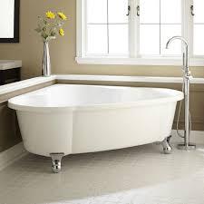 Freestanding Soaking Tubs Bathroom Oval White Fiberglass Corner Bathtub With Bronze Faucet