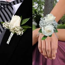 corsage and boutonniere for homecoming white and silver corsage and boutonniere prom