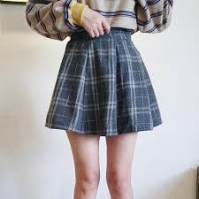 plaid skirt itgirl shop vintage plaid thick wool school style kawaii skirt