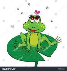 frog sitting on lily pad butterfly stock vector 128446433