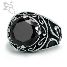 round steel rings images Stainless steel anillos men rings big round zirconia crystal stone jpg