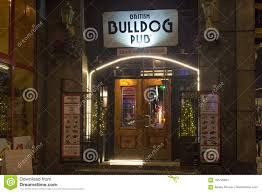 warsaw poland january 02 2016 entrance to pub and steak