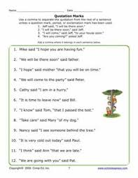 comma worksheet quotation mark worksheets and language arts