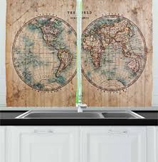 ambesonne kitchen decor collection map the world atlas antique