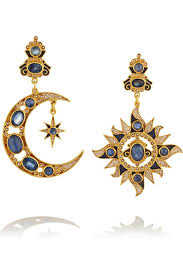 percossi papi earrings percossi papi gold plated sapphire kyanite and pearl earrings