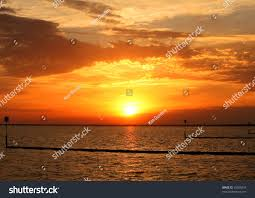 sunset over lake pontchartrain new orleans stock photo 35500243