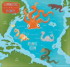 Map With Oceans Sea Monsters Of The Atlantic Ocean Map On Behance
