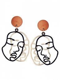 human earrings outline human drop earrings black earrings zaful