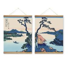 2 pieces japanese style lake landscape trees decoration wall