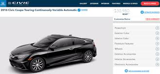 honda civic 2016 coupe 2016 honda civic coupe configurator officially online