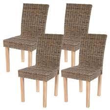 chaise en lot de 4 chaises de séjour littau chaise en osier rotin kubu