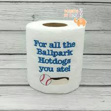 Baseball Home Decor Baseball Ballpark Hotdogs Embroidered Toilet Paper Gift For Him