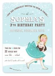 ice skating birthday party digital invitation blue brown