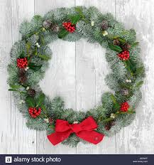 Mistletoe Decoration Traditional Christmas Wreath Decoration With Holly Fir And