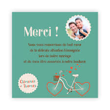 remerciement mariage original carte de remerciement mariage vintage vélo avec roues en coeur