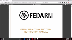 fedarm frn shotgun owners manual review education youtube