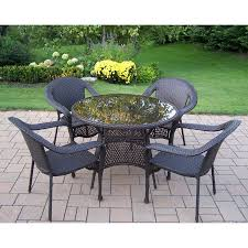 shop oakland living elite resin wicker 5 piece dining patio dining