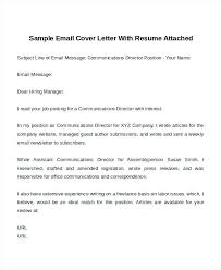 sample of email cover letter with resume attached cover letter