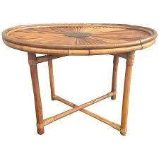 chic bamboo coffee table rising sun signed gabriella crespi at 1stdibs