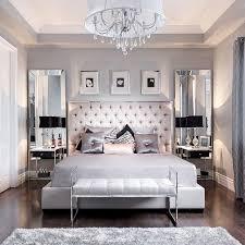 beautiful bedroom decor tufted grey headboard mirrored