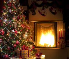 christmas photos new year christmas tree fire present fireplace