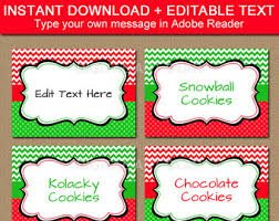 christmas candy buffet labels tent cards place cards decor