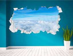 sky clouds realistic cracked wall 3d huge wall art sticker zoom