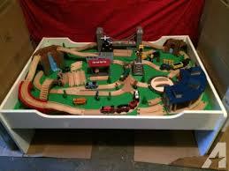 thomas train set wooden table thomas train table set roundhouse bridge mountain crane