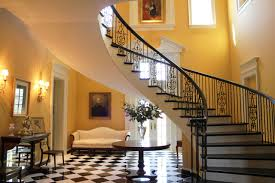 Traditional Staircase Ideas Interior Design Glass Double Door With Wrought Iron Railings And
