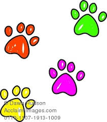 image whimsical drawing paw prints