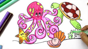 learn to draw and color sea animals coloring pages learn colors